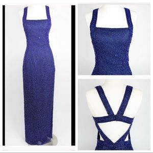 Scala Royal Blue beaded formal silk gown